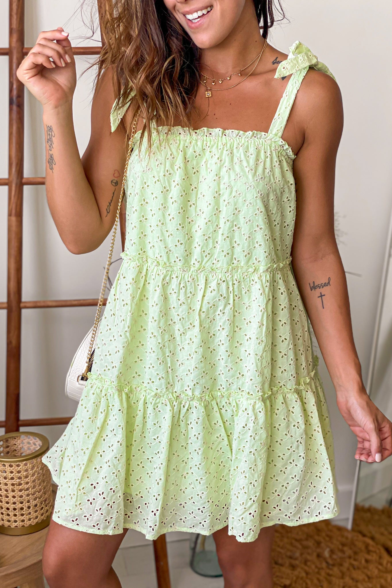 avocado eyelet mini dress