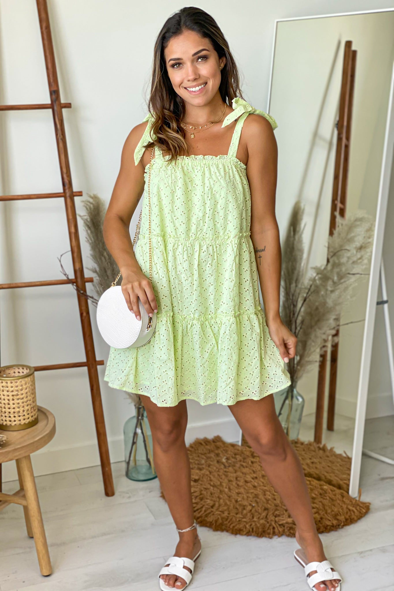 avocado eyelet short dress