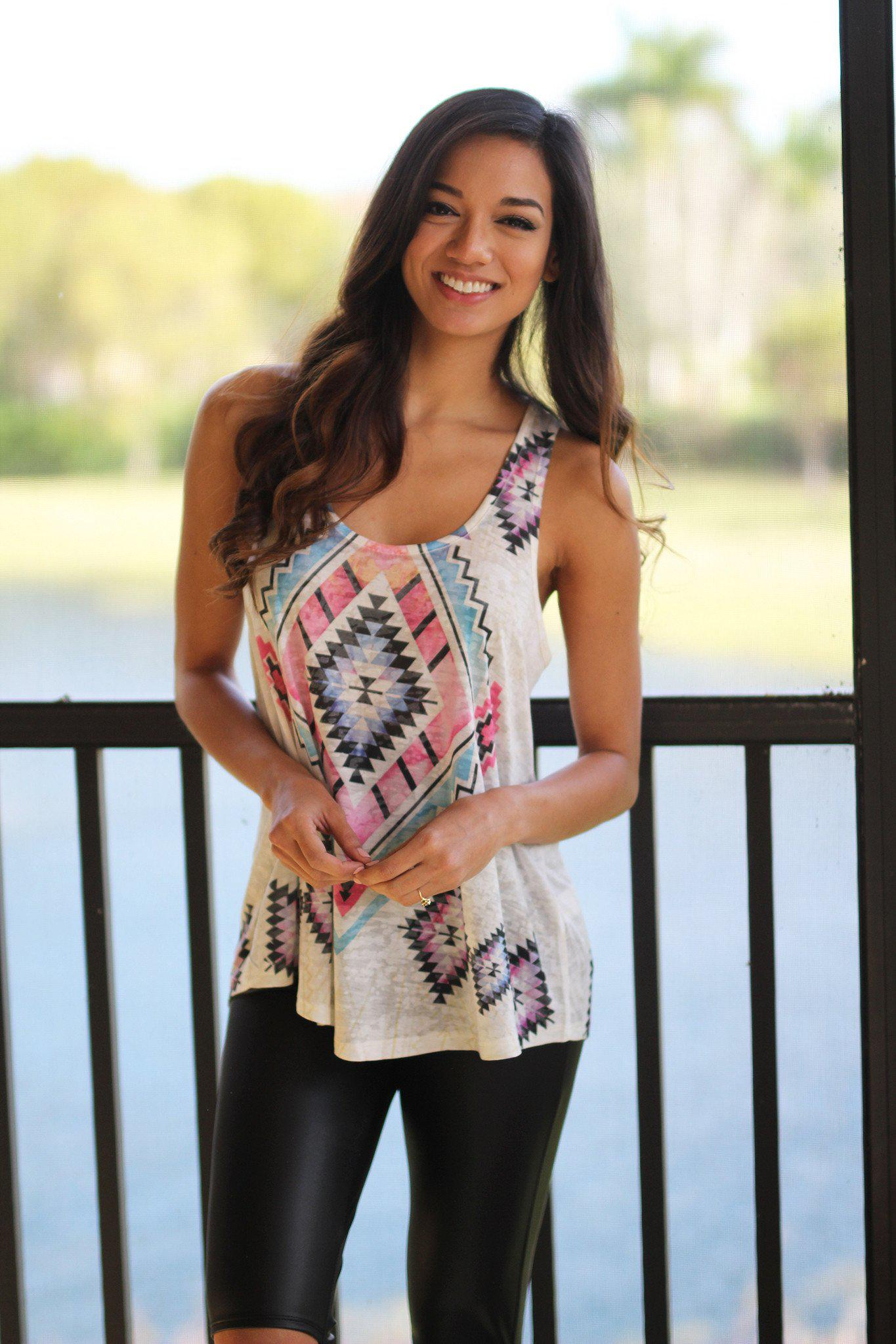 Pink Aztec Printed Top