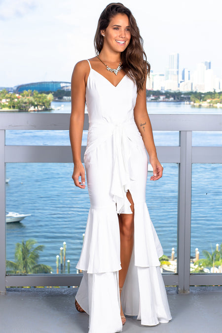 White Ruffled Maxi Dress