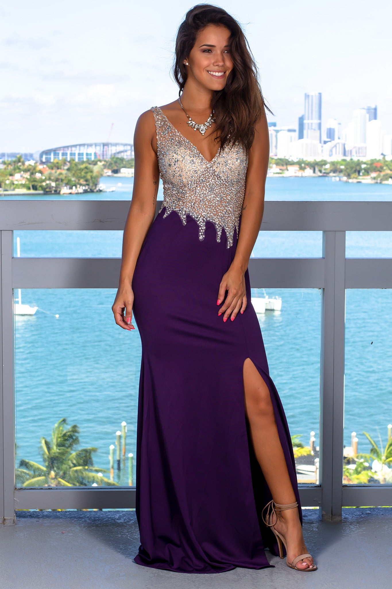 Violet and Nude Jeweled Top Maxi Dress with Open Back