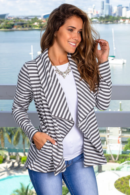 Charcoal and Ivory Striped Asymmetrical Jacket with Zipper
