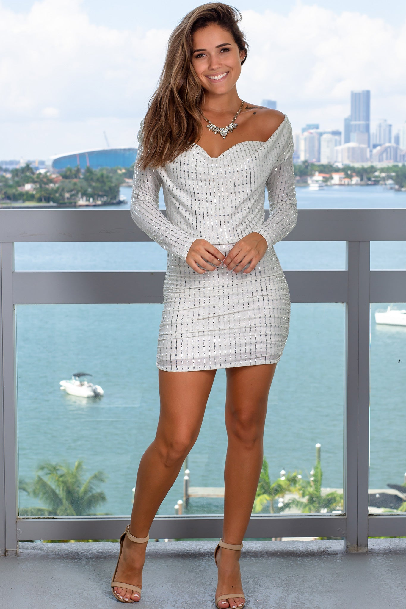 White Sequin Short Dress with Long Sleeves