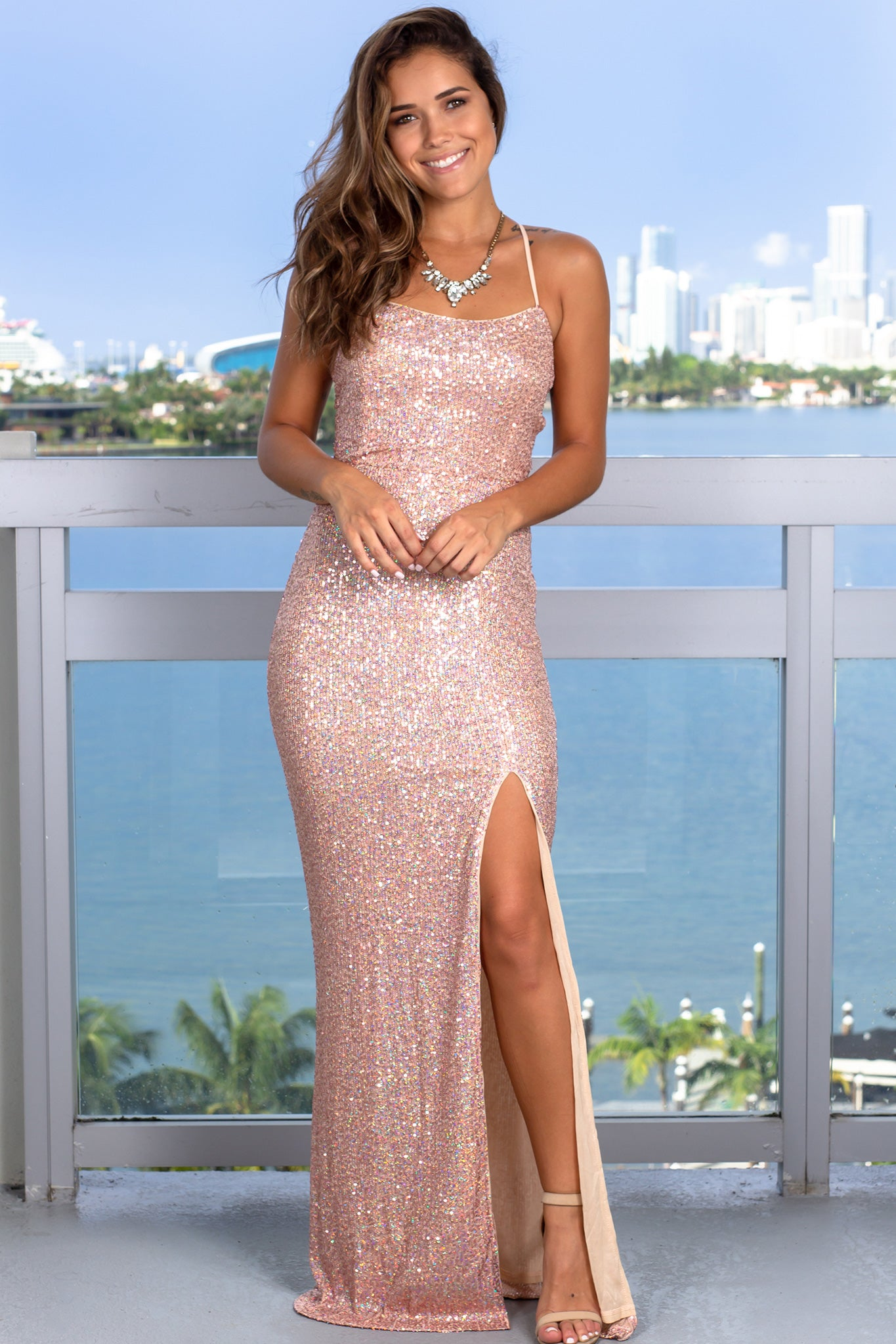 Rose Gold Maxi Dress with Strappy Back