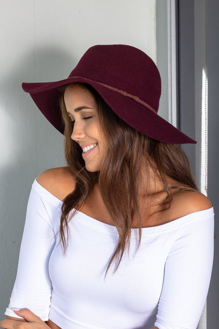 Burgundy Wool Panama Hat