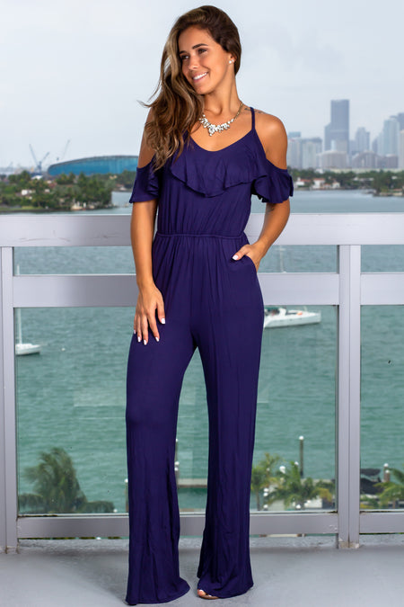 Navy Ruffle Top Jumpsuit