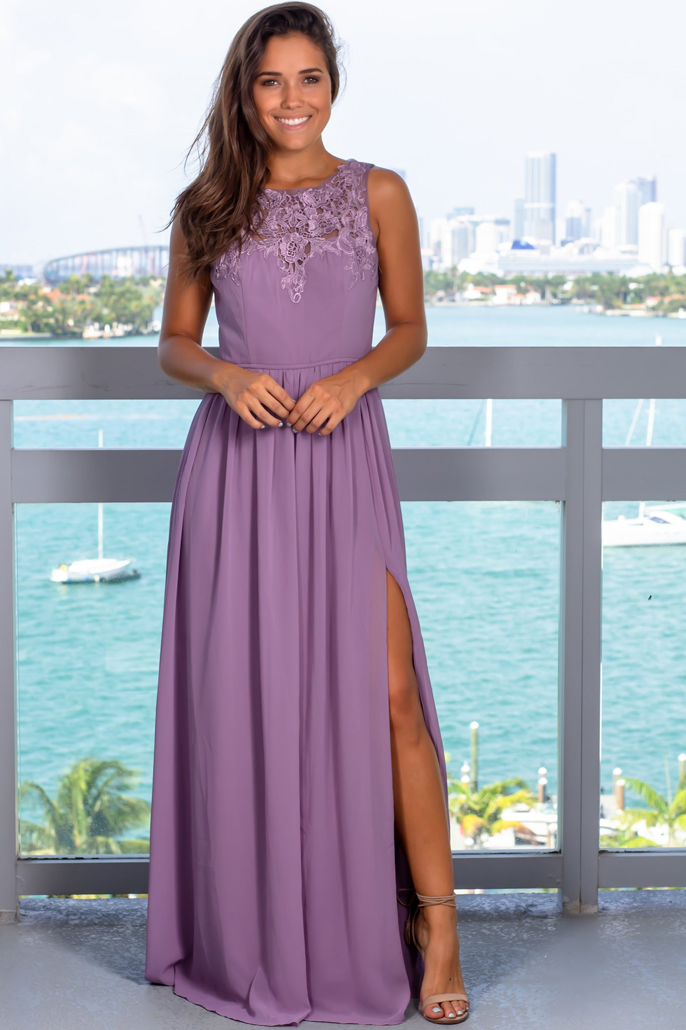 Dark Lavender Maxi Dress with Crochet Top