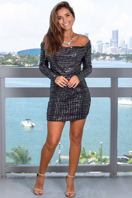 Black Sequin Short Dress with Long Sleeves