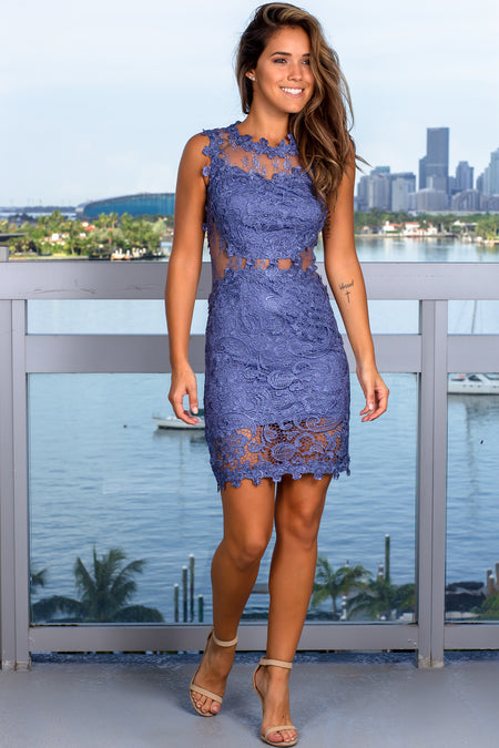 Slate Blue Lace Short Dress