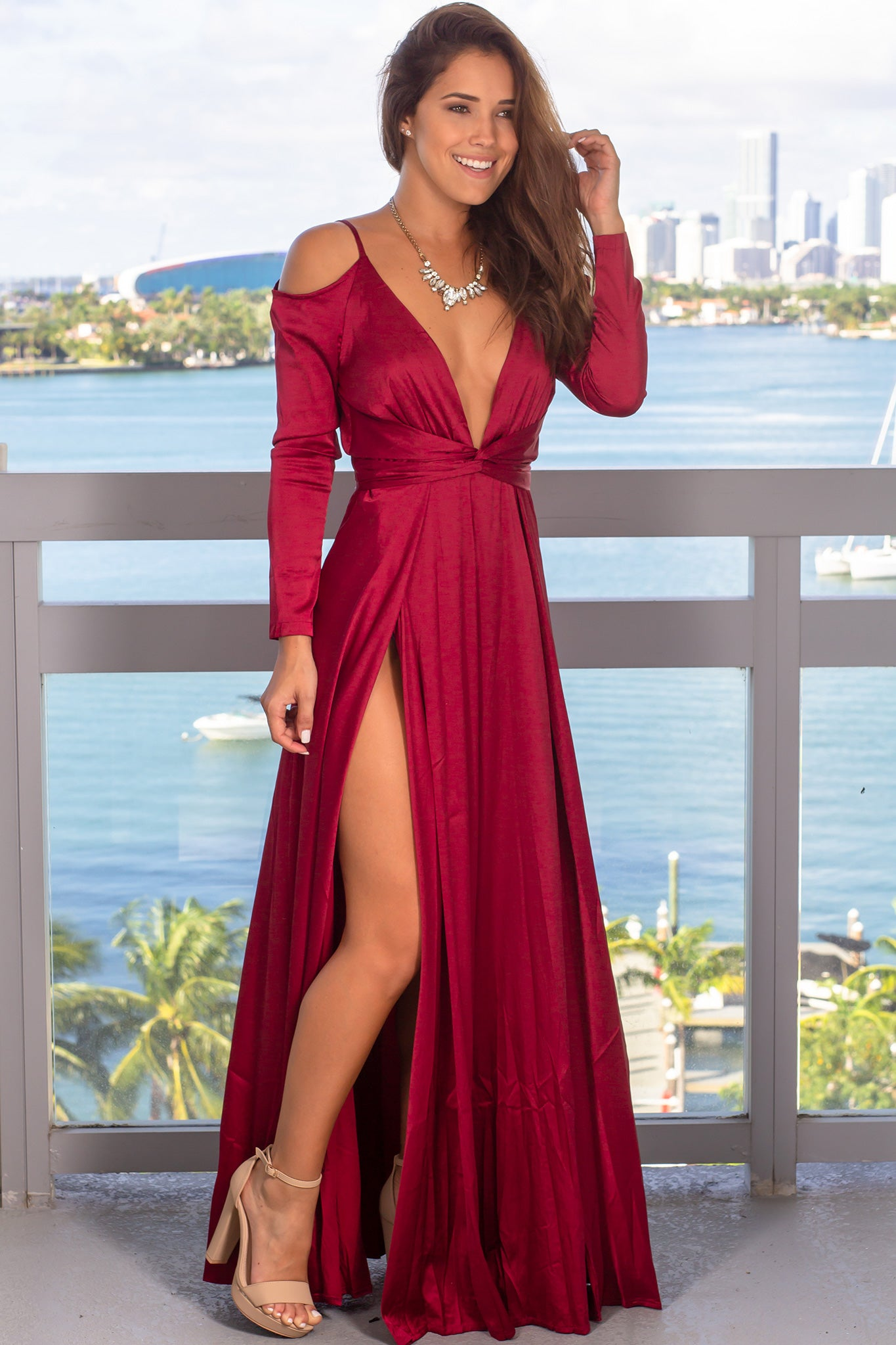 Wine Long Sleeve Satin Maxi Dress