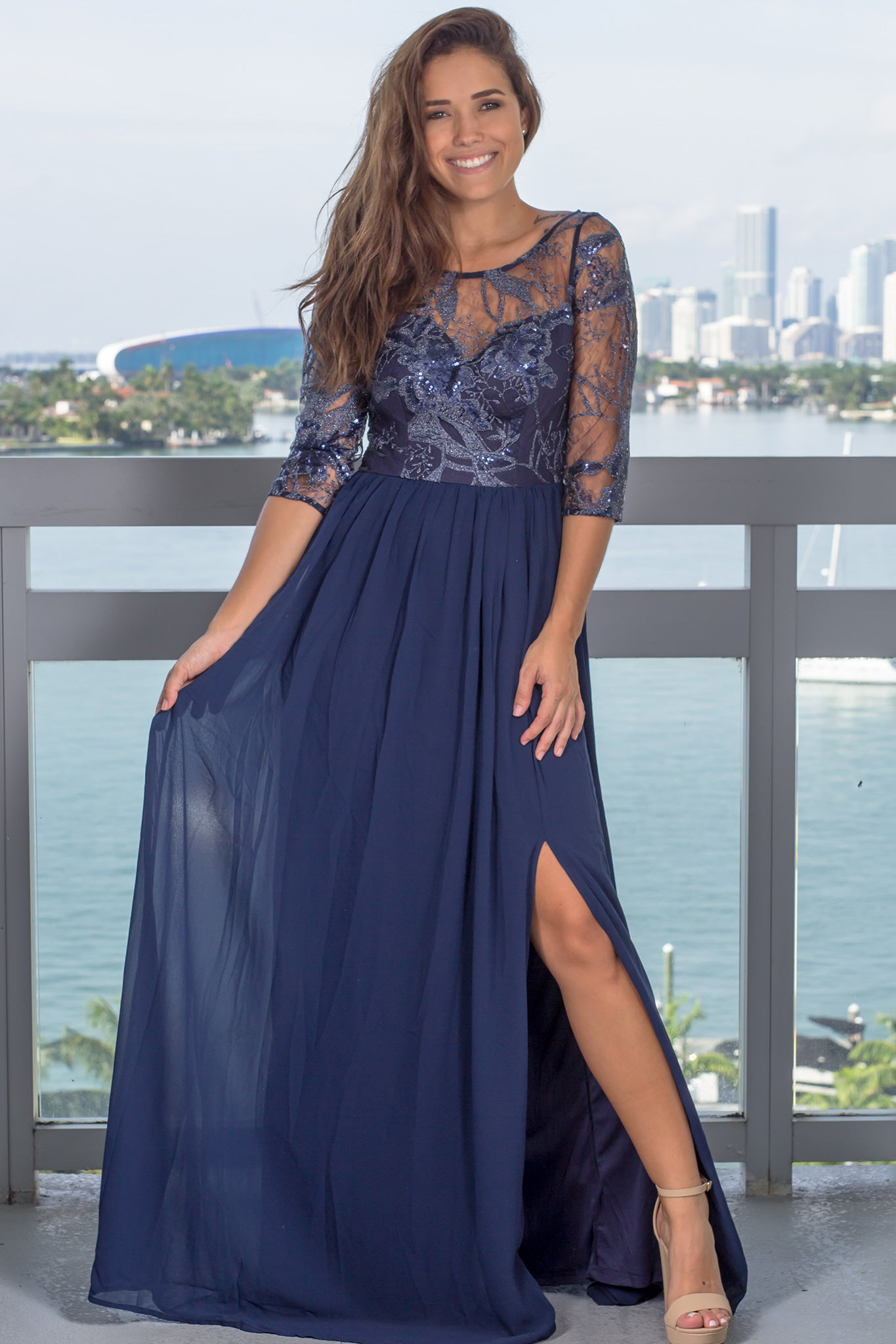 Navy Sequin Top Maxi Dress with Side Slit