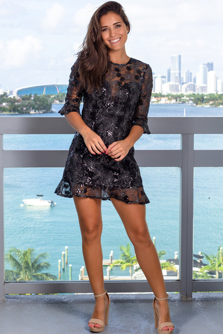 Black Sequin Short Dress with Bell Sleeves
