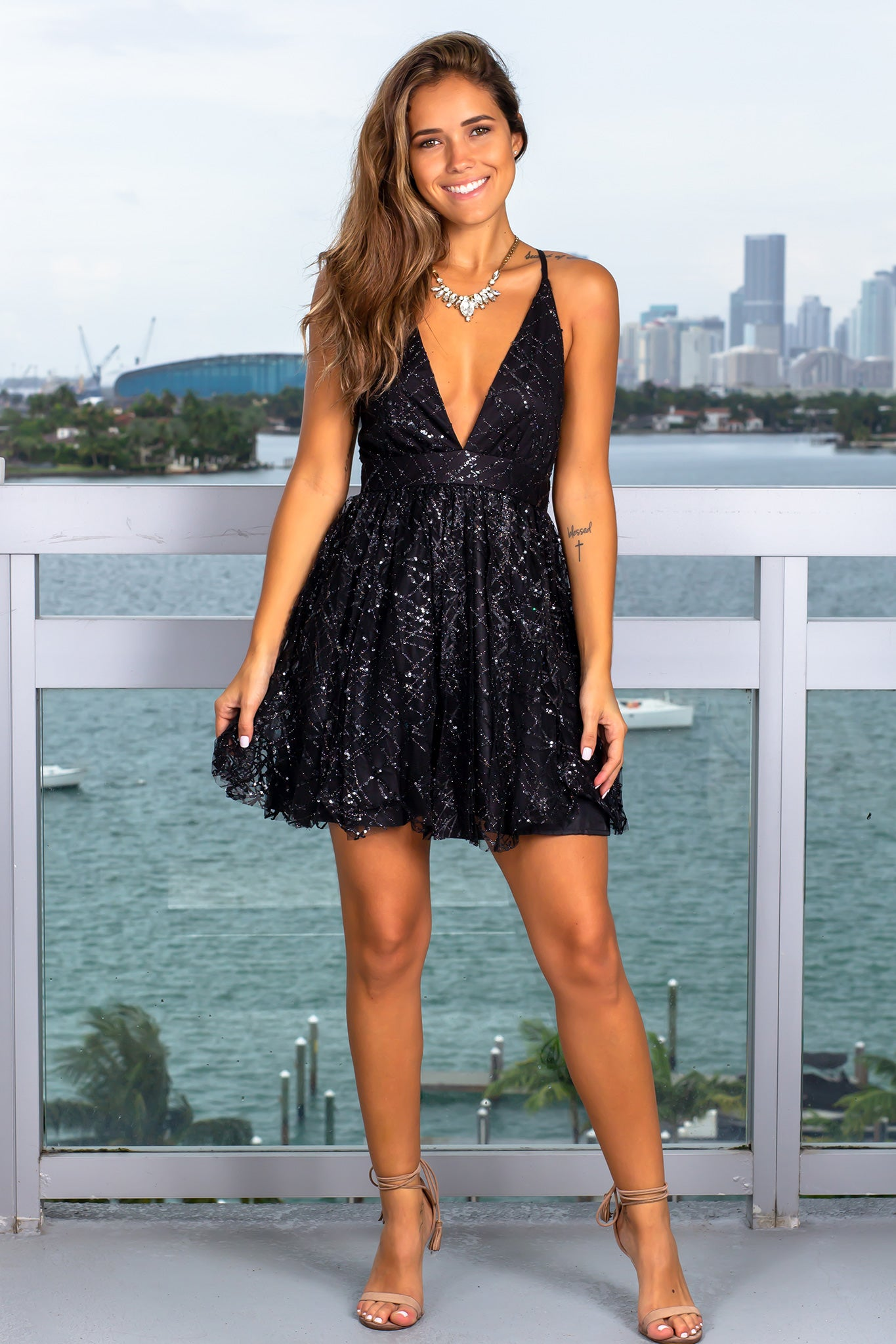 Black Short Dress with Sequin Detail