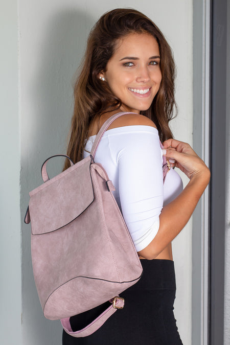 Mauve Faux Leather Backpack