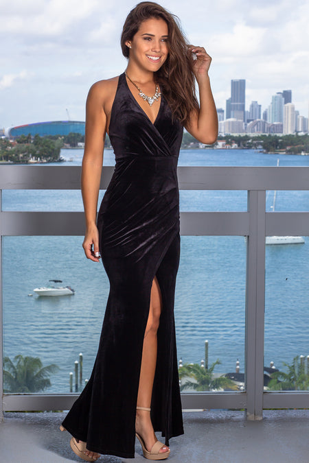 Black Velvet Halter Neck Maxi Dress