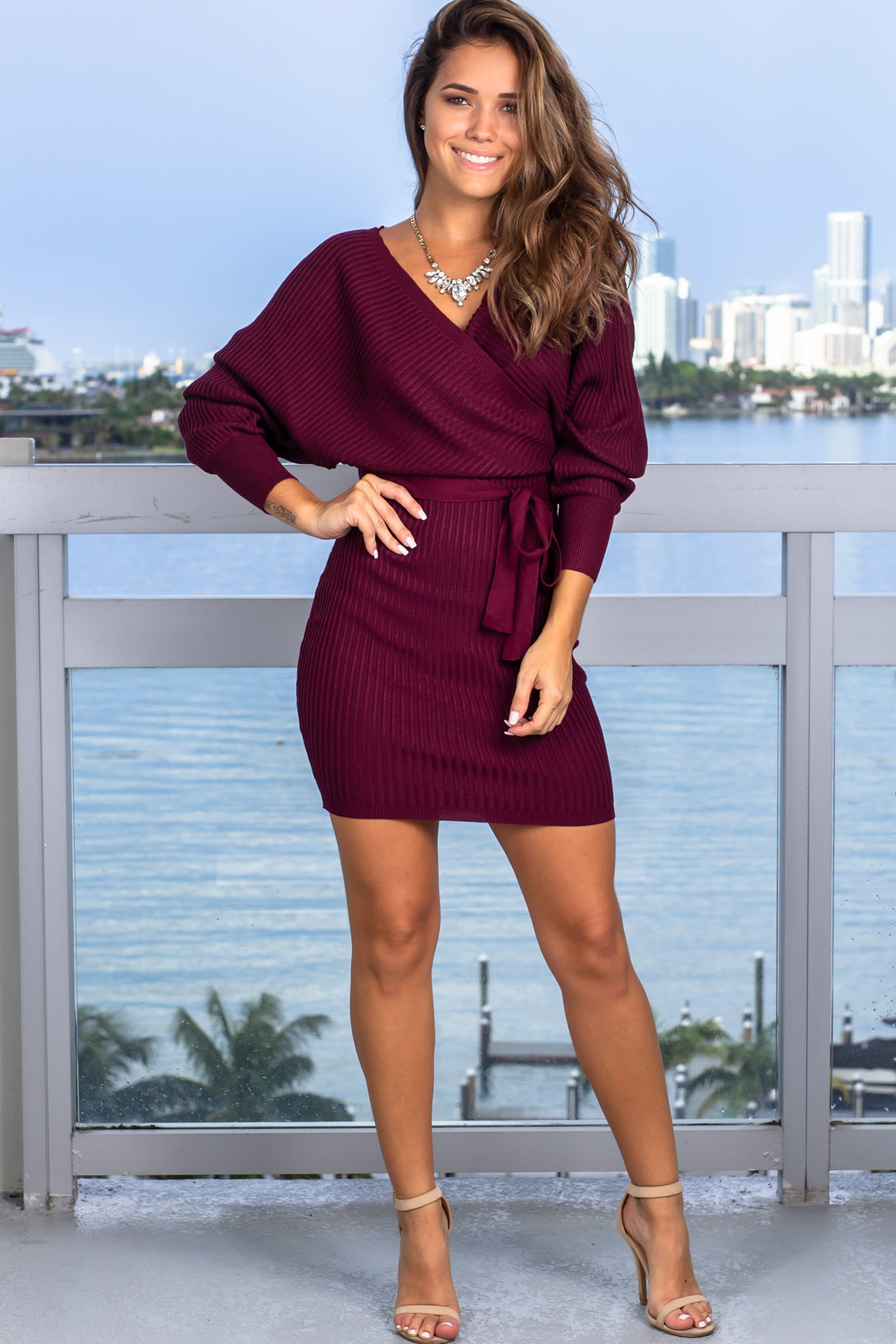 Wine Ribbed Short Dress with Long Sleeves