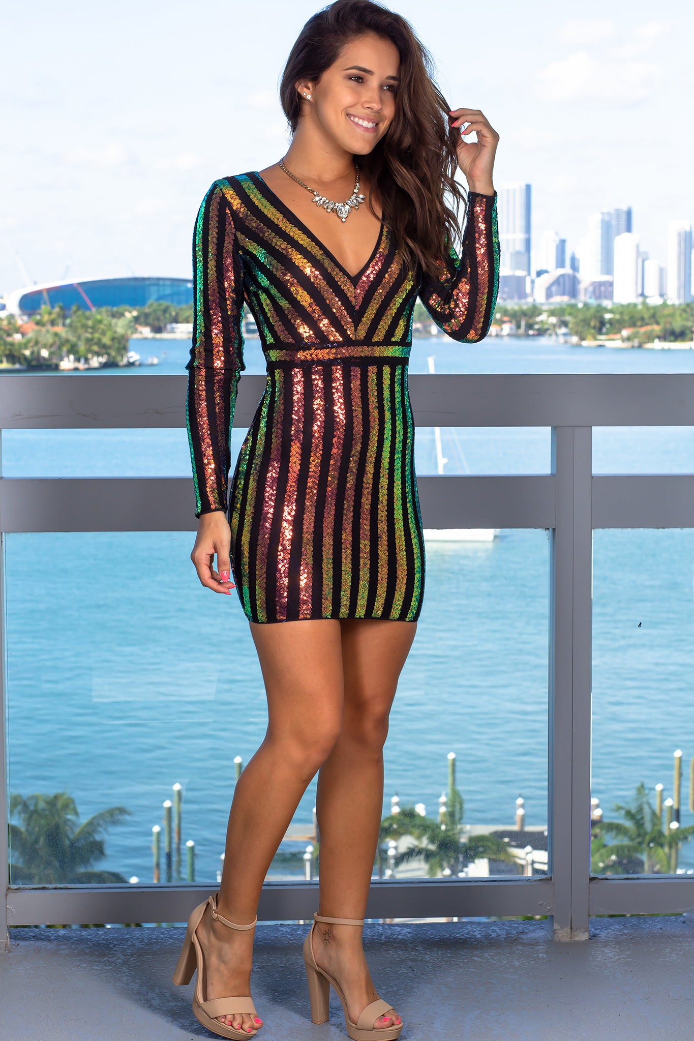 Multicolor V-Neck Sequin Short Dress