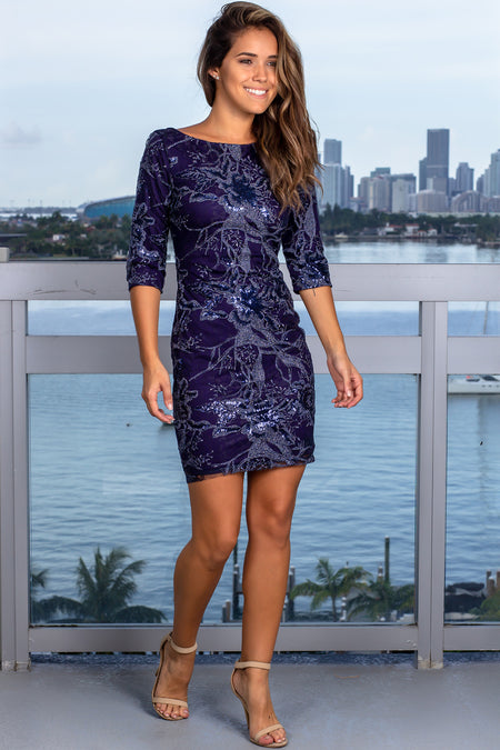 Navy Embroidered Short Dress with Sequin Detail