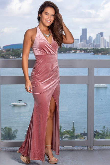 Dark Mauve Velvet Halter Neck Maxi Dress