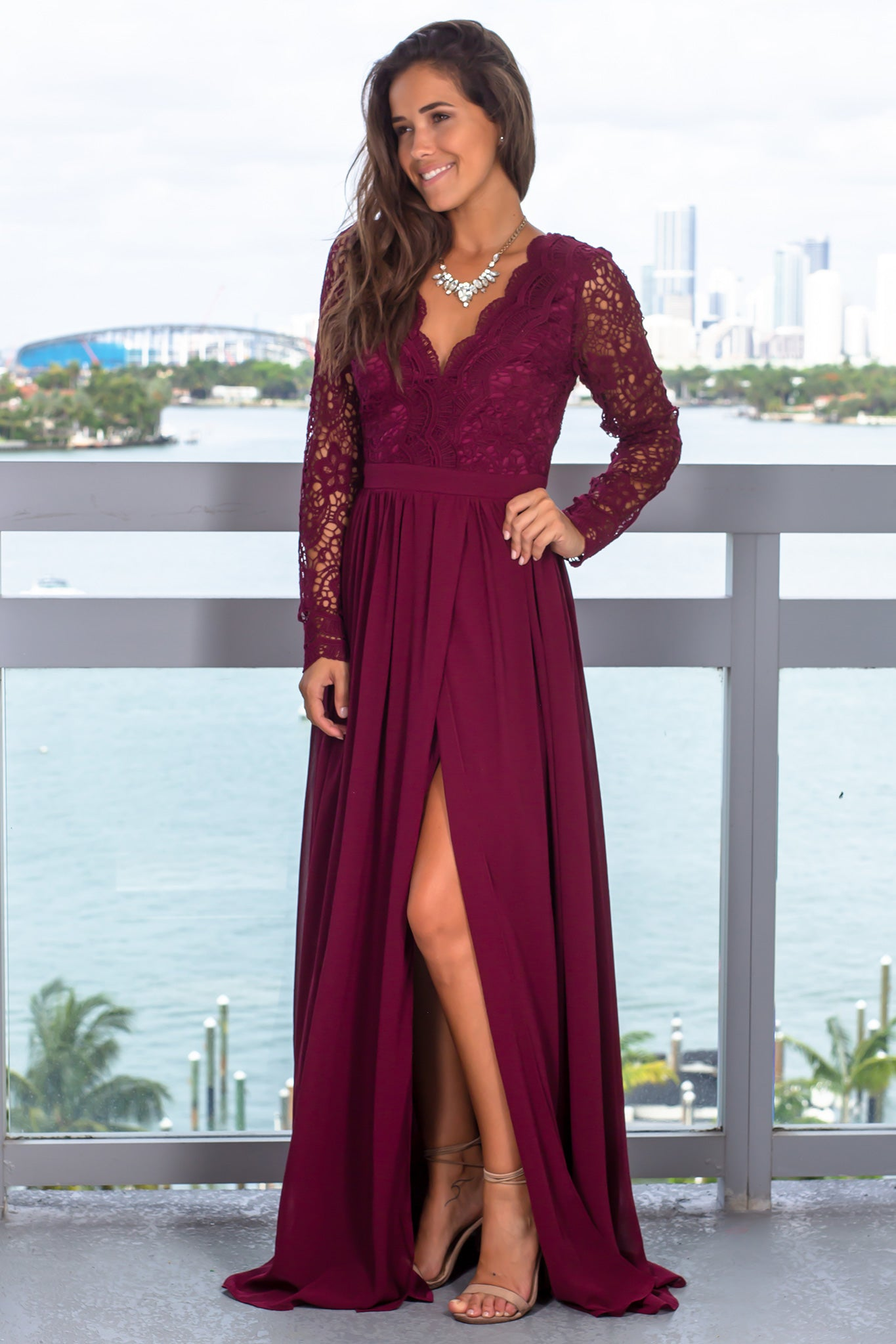 Burgundy Maxi Dress with Long Sleeves