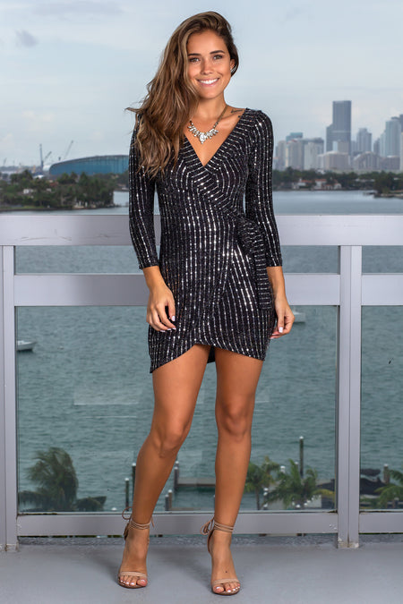 Black and Silver Short Dress with Sleeves
