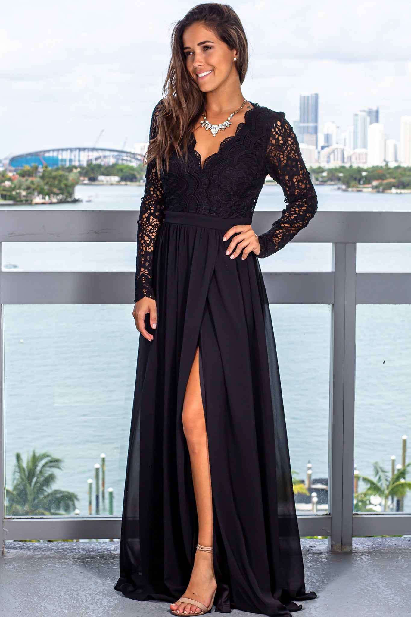 Black Maxi Dress with Long Sleeves