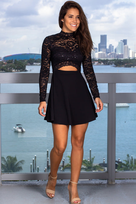 Black Lace Sequined Short Dress