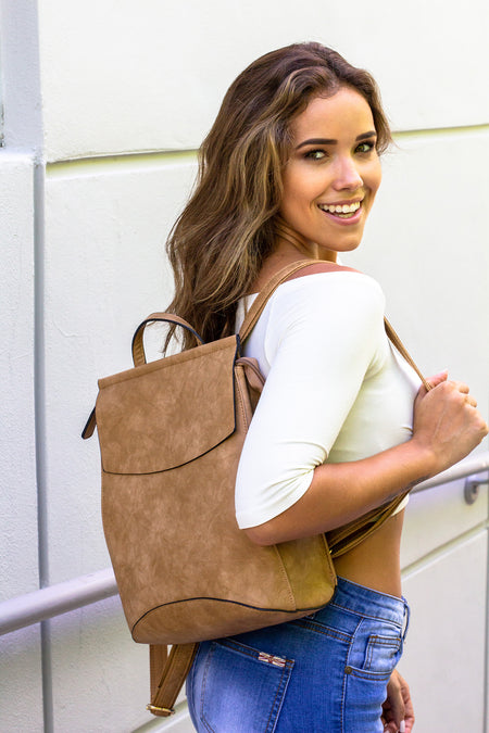 Taupe Faux Leather Backpack