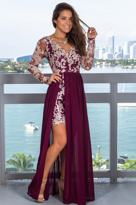 Wine and Champagne Lace Top Maxi Dress
