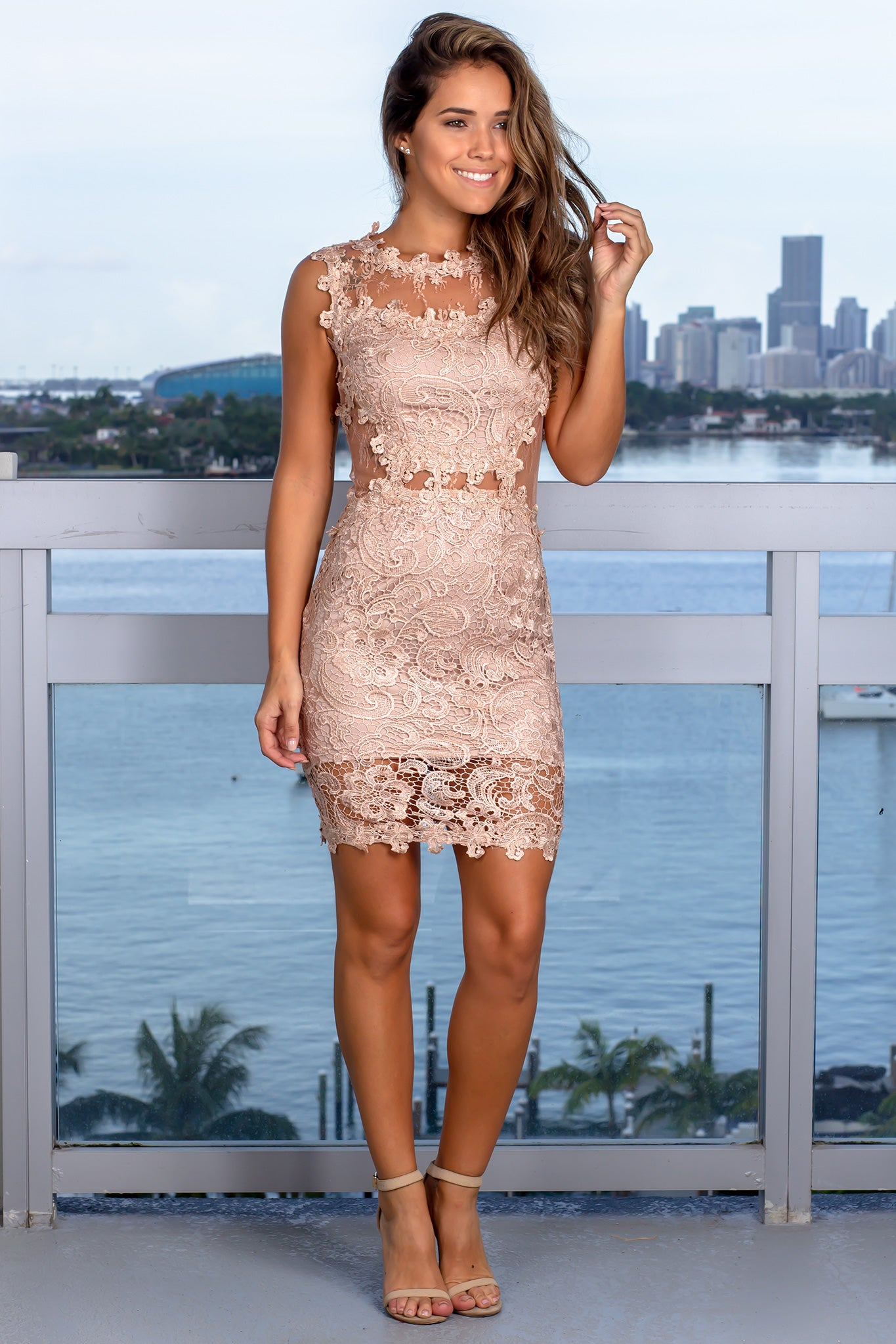 Toffee Lace Short Dress