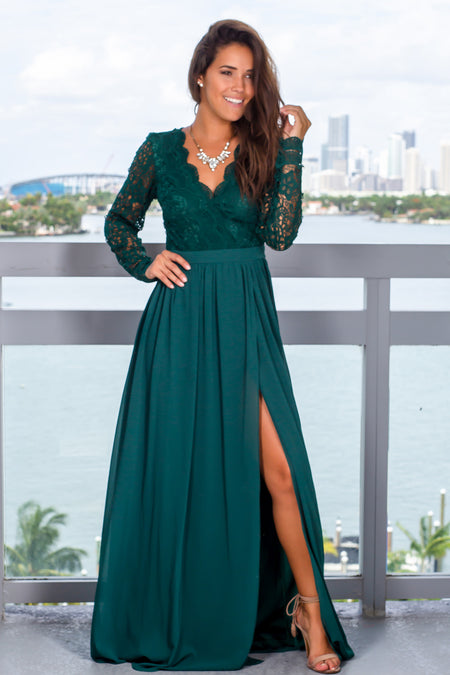 Hunter Green Maxi Dress with Long Sleeves