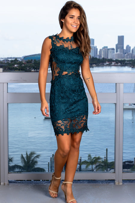 Hunter Green Lace Short Dress