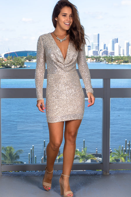 Beige and Silver Sequin Short Dress with Cowl Neck