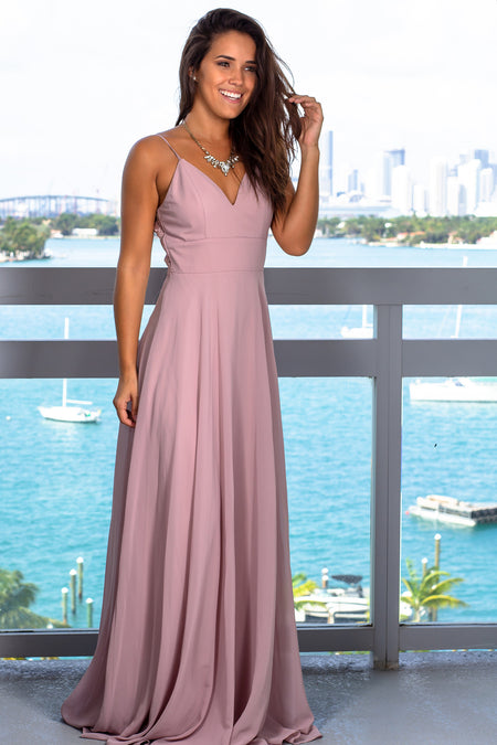 Mauve Maxi Dress with Embroidered Back