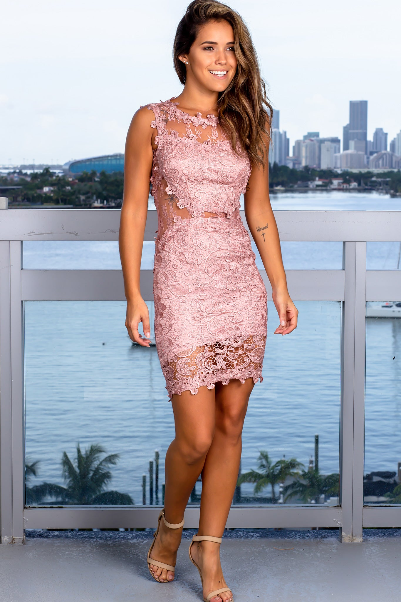 Dusty Rose Lace Short Dress