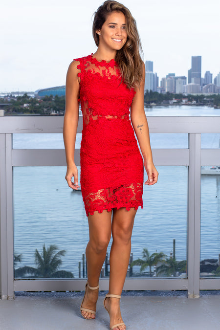 Red Sleeveless Lace Short Dress
