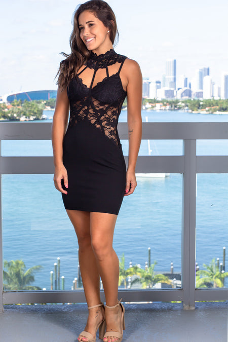 Black Lace Cutout Short Dress