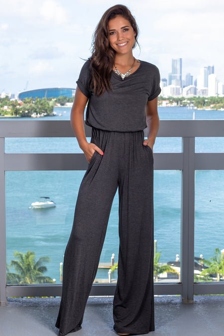 Charcoal Jumpsuit with Sleeves