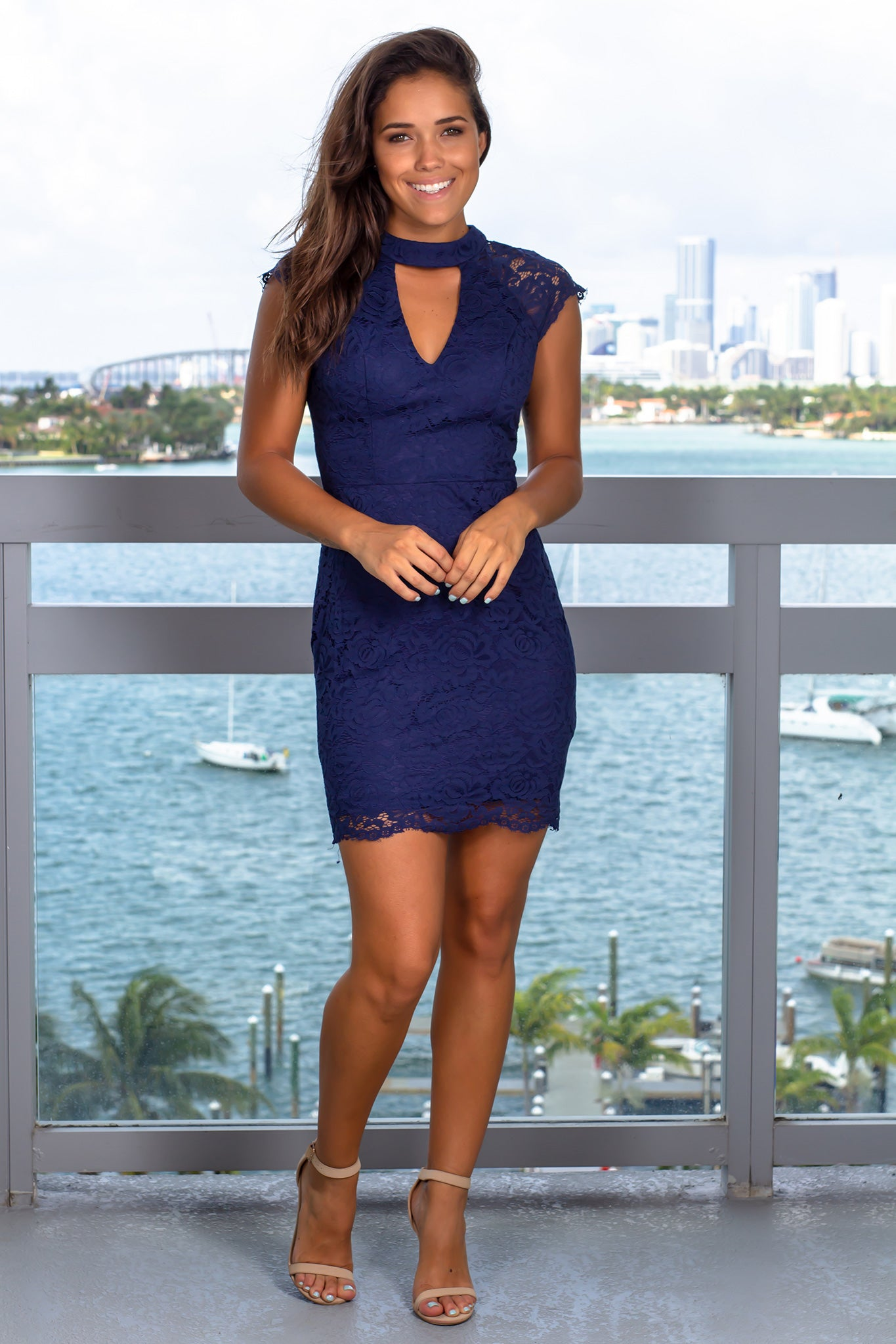 Navy Lace Short Dress with Keyhole Neckline