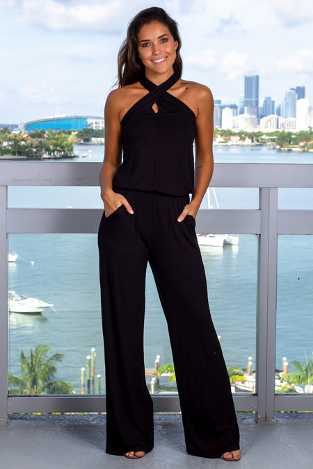 Black Halter Neck Jumpsuit with Pockets