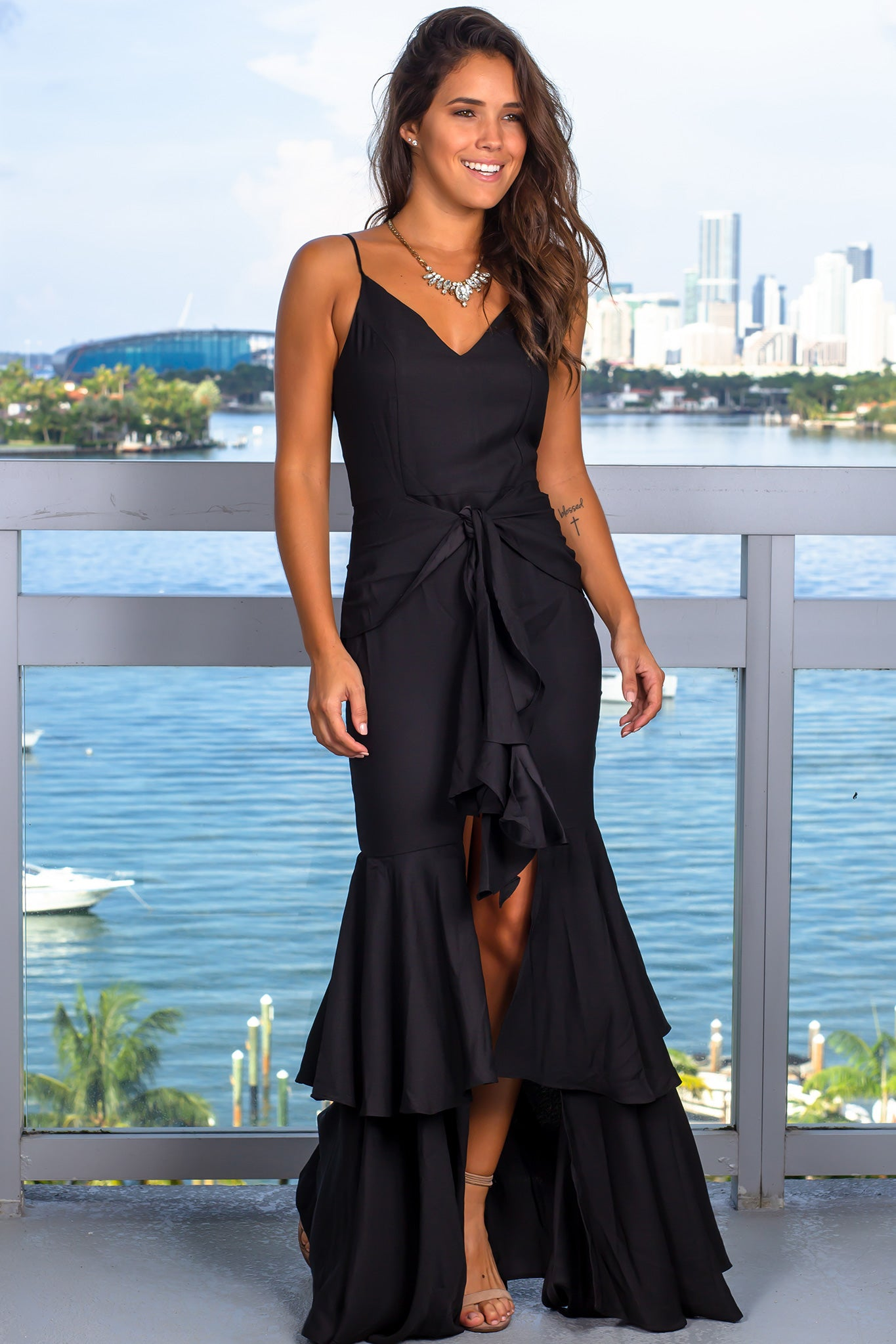 Black Ruffled Waist Tie Maxi Dress