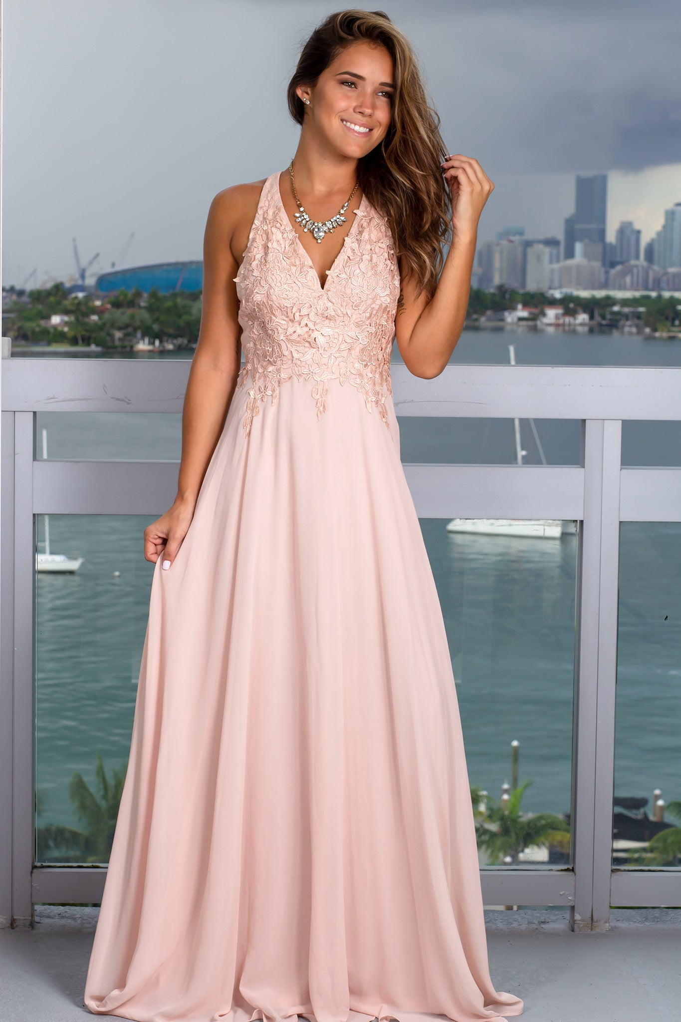 Blush Maxi Dress with Embroidered Top and Criss Cross Back