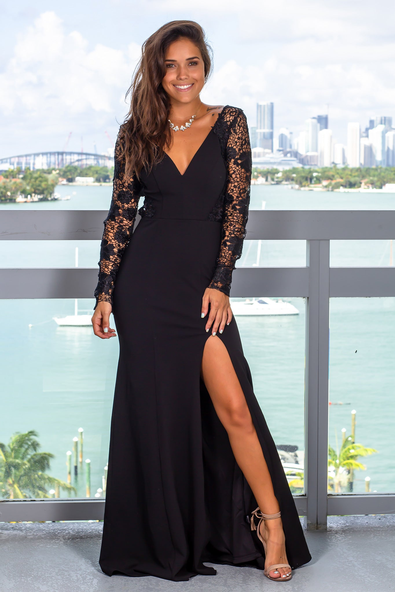 Black Maxi Dress with Lace up Back