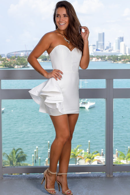 White Short Dress with Ruffled Side