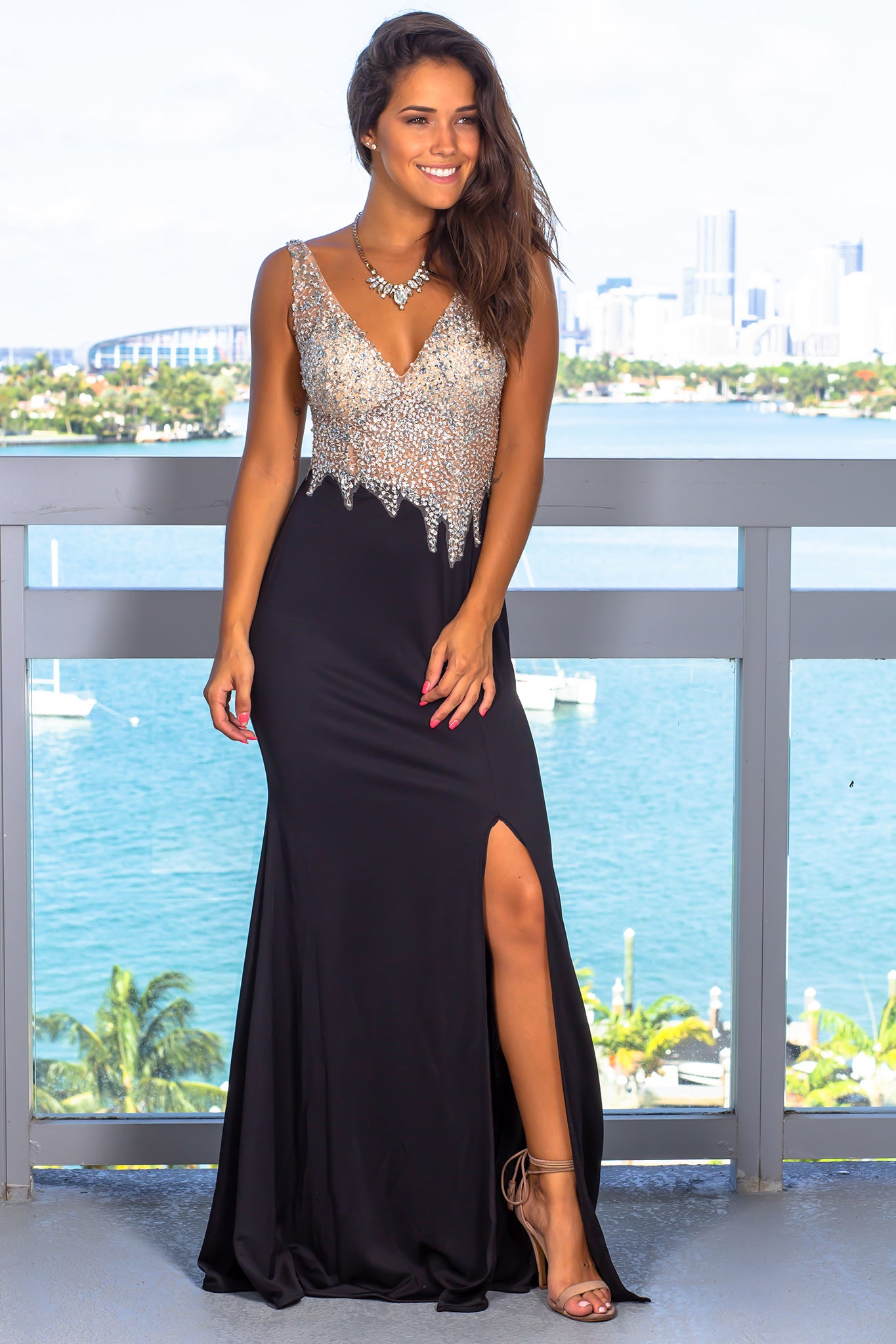 Black and Nude Jeweled Top Maxi Dress with Open Back
