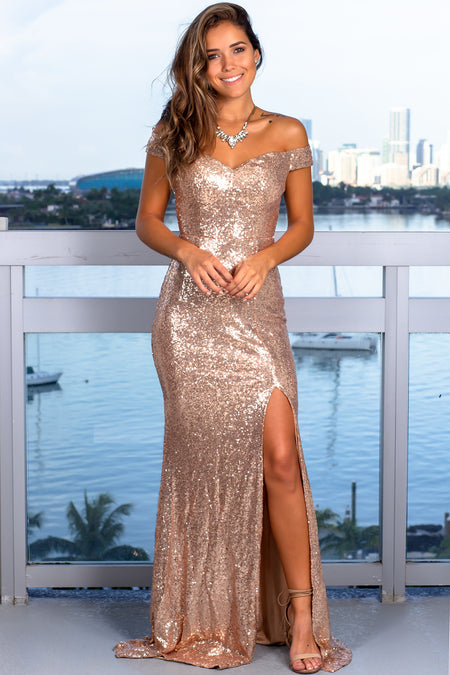 Champagne Sequin Maxi Dress with Side Slit