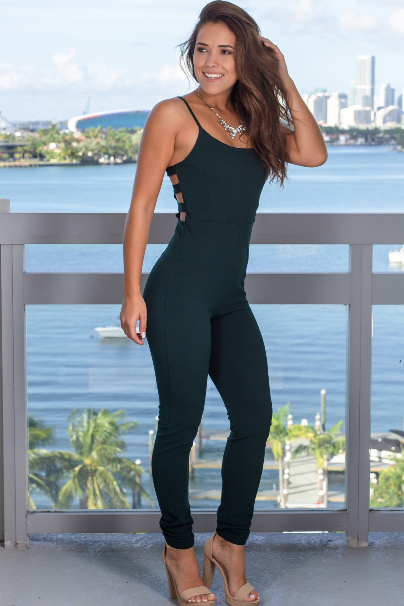 Hunter Green Jumpsuit with Cut Outs