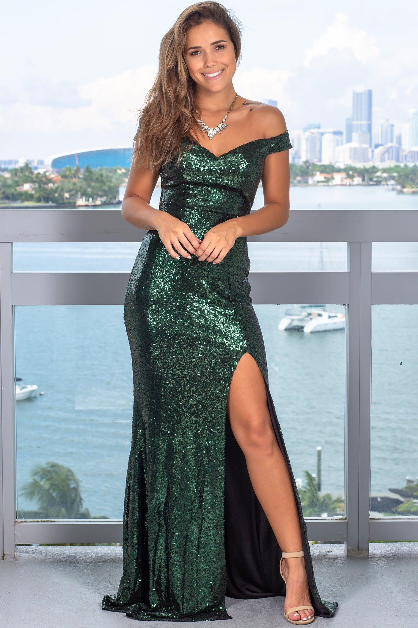 Hunter Green Sequin Maxi Dress with Side Slit