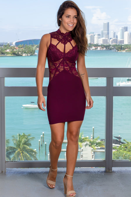 Plum Lace Cutout Short Dress