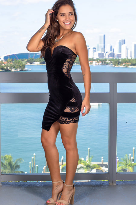 Black Strapless Short Dress with Lace Detail